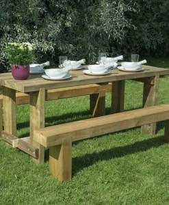 Rustic sleeper wooden picnic bench