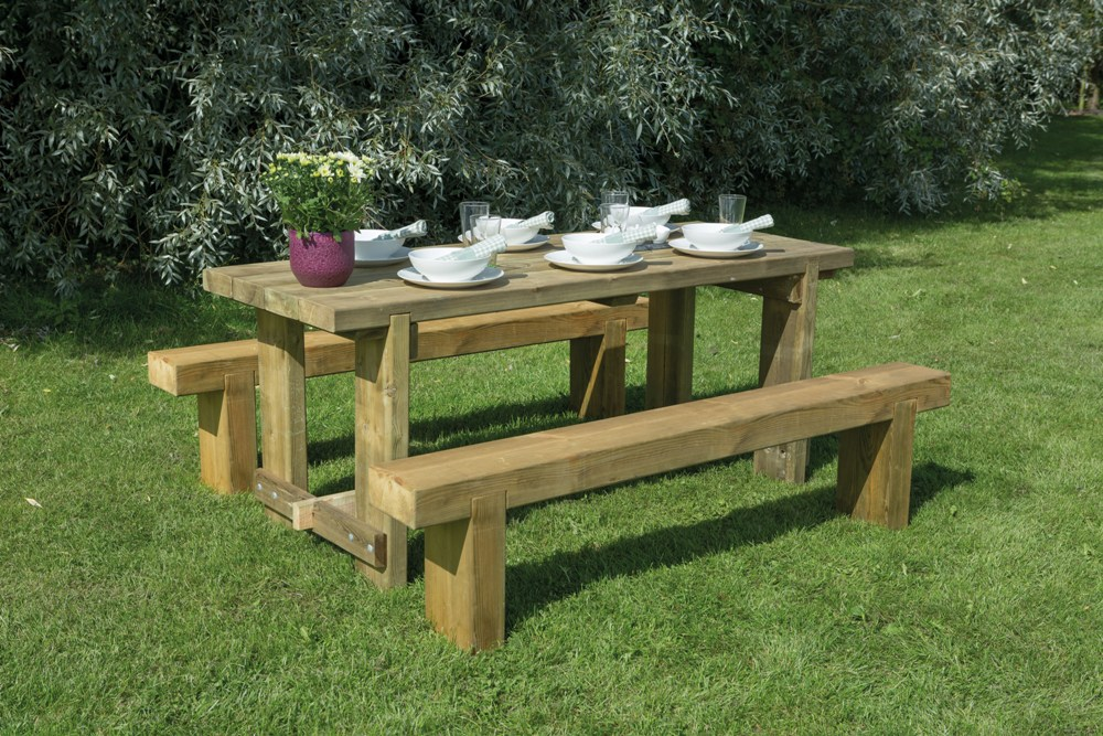 Rustic sleeper wooden picnic bench